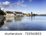 pretty cottages and an old mill ... | Shutterstock . vector #733563853