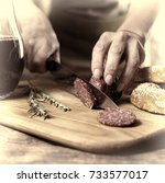traditional italian red wine ... | Shutterstock . vector #733577017