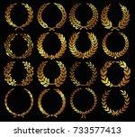 set of gold laurel wreath or... | Shutterstock .eps vector #733577413