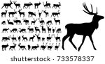silhouette of deer  collection | Shutterstock .eps vector #733578337