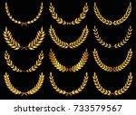 set of gold laurel wreath or... | Shutterstock .eps vector #733579567