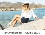 blond woman looking on the sea  ... | Shutterstock . vector #733581673