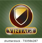 gold emblem with armor icon... | Shutterstock .eps vector #733586287