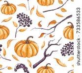 seamless pattern of watercolor... | Shutterstock . vector #733586533