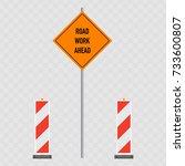 road work ahead signs  flat... | Shutterstock .eps vector #733600807