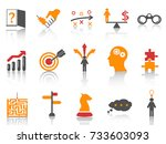 orange business strategy icons... | Shutterstock .eps vector #733603093