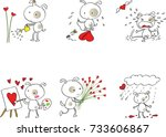 fat dog cartoon with heart shape | Shutterstock .eps vector #733606867