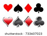 shiny 3d playing card suite... | Shutterstock .eps vector #733607023