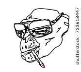 smoking monkey outline vector.  | Shutterstock .eps vector #733618447