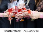 hands that clink glasses with... | Shutterstock . vector #733620943