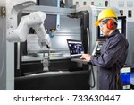 maintenance engineer using... | Shutterstock . vector #733630447