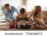 happy family in colorful summer ...   Shutterstock . vector #733638673