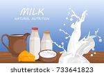 fresh milk products vector flat ... | Shutterstock .eps vector #733641823