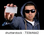 young man show business card - stock photo