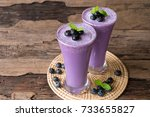 blueberry smoothies and... | Shutterstock . vector #733655827