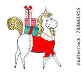 hand drawn cute unicorn santa... | Shutterstock .eps vector #733661953