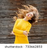 happy young woman on sunny... | Shutterstock . vector #733662853
