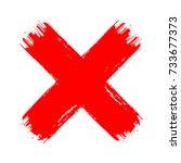 x red cross brush paint stroke. ...   Shutterstock .eps vector #733677373
