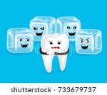 cartoon tooth character with... | Shutterstock .eps vector #733679737