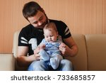 dad and baby | Shutterstock . vector #733685857