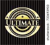 ultimate gold badge or emblem | Shutterstock .eps vector #733693903