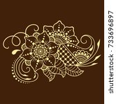 henna tattoo flower template.... | Shutterstock .eps vector #733696897
