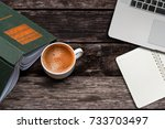 white cup of coffee laptop and  ... | Shutterstock . vector #733703497