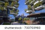 vertical forest  milan  porta... | Shutterstock . vector #733703983