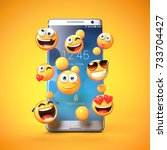 emojis around mobile phone ... | Shutterstock . vector #733704427