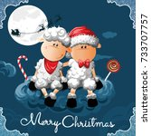 funny sheep.christmas theme... | Shutterstock .eps vector #733707757