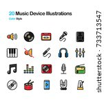 music and device lineal color... | Shutterstock .eps vector #733713547