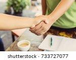 business people handshaking  | Shutterstock . vector #733727077