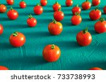red tomatoes cherry  scattered... | Shutterstock . vector #733738993