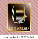 gold emblem or badge with... | Shutterstock .eps vector #733774267