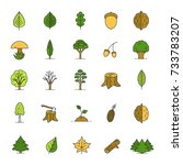 tree types color icons set.... | Shutterstock . vector #733783207