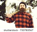 handsome man or lumberjack ... | Shutterstock . vector #733783567