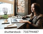 young beautiful woman working... | Shutterstock . vector #733794487
