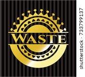 waste gold shiny badge | Shutterstock .eps vector #733799137
