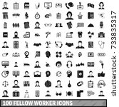 100 fellow worker icons set in... | Shutterstock . vector #733835317