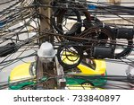 messy wires attached to... | Shutterstock . vector #733840897