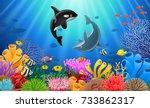 cartoon dolphin with killer... | Shutterstock .eps vector #733862317