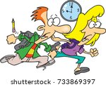 cartoon teen boy and girl... | Shutterstock .eps vector #733869397