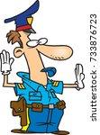 cartoon traffic cop directing... | Shutterstock .eps vector #733876723