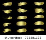 vector golden brushes... | Shutterstock .eps vector #733881133