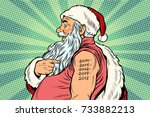 santa claus with tattoos 2018.... | Shutterstock .eps vector #733882213