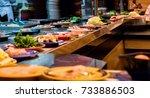 food rail in a japanese shabu... | Shutterstock . vector #733886503