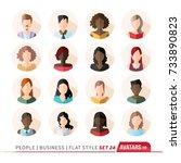 16 avatars  women  and men...   Shutterstock .eps vector #733890823