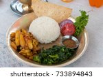 selective focus of dal bhat...   Shutterstock . vector #733894843
