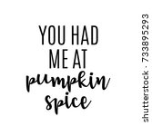 you had me at pumpkin spice... | Shutterstock .eps vector #733895293