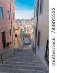 lisbon in portugal  typical ... | Shutterstock . vector #733895533